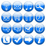 Web Buttons. Set of blue glossy icons Stock Images