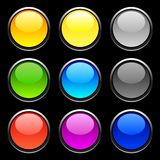 Web buttons. Web shiny buttons on black Royalty Free Stock Photos