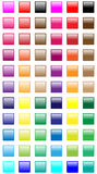 Web buttons. Full colored square web buttons set on white background Royalty Free Stock Photos