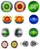 Web Buttons. Buttons for ON OFF applications, shopping carts, roll overs and much more Stock Illustration