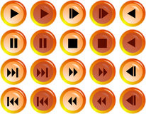Web buttons. Orange web buttons for player design Royalty Free Stock Photos