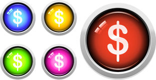 Web Buttons. A Colourful Set of Dollar Symbol Buttons Stock Photo
