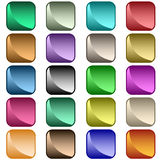 Web buttons assorted colors. Web buttons in 20 shiny rounded square assorted colors. Isolated on white vector illustration