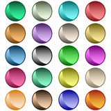 Web buttons assorted colors. Web buttons in 20 round shiny assorted colors. Isolated on white royalty free illustration