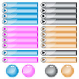 Web buttons assorted colors and shapes Royalty Free Stock Image