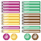 Web buttons assorted colors and shapes Royalty Free Stock Photography