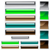 Web buttons in assorted glossy colors. Web buttons, scaleable shiny rectangles and squares in assorted colors stock illustration