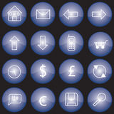 Web buttons blue. Collection of web buttons or icons with blue glazed finish Royalty Free Stock Image