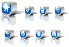 Web Buttons Blue Set 1 in Metal Stock Images
