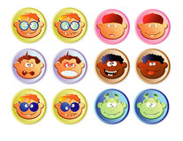 Web buttons, boys. Color set of web buttons with children faces, caricature Royalty Free Stock Image