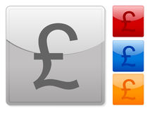 Web buttons british pound. Color square web buttons. Vector illustration Stock Images