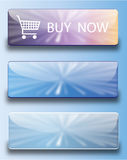 Web buttons buy now. Vector set of glossy SKY BUTTONS Royalty Free Stock Images