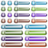 Web Buttons Chromed. A collection of blank glowing web buttons on a chrome background Royalty Free Stock Photography