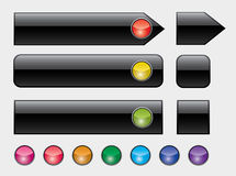 Web buttons with colorful lights Stock Photo