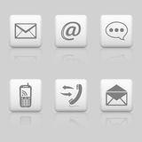 Web buttons, contact icons. Web buttons on grey background, contact icons set Stock Photo
