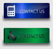 Web buttons contact us. Vector buttons: blue and green royalty free illustration