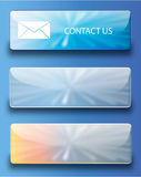 Web buttons contact us. Vector set of glossy SKY BUTTONS Royalty Free Stock Photo