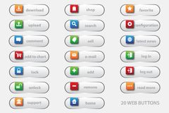 20 web buttons with 3D graphic for your best business website stock illustration
