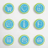 Web Buttons with Drawing Icons Royalty Free Stock Image