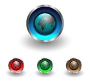 Web buttons with earth globe Stock Photography