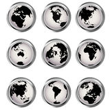 Web buttons with Earth globes Stock Photos