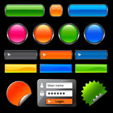 Web Buttons and elements. On black Royalty Free Stock Image