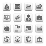Web buttons, finance and banking icons. Web buttons, finance, money and banking icons isolated on white background Stock Photos