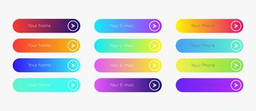 Web buttons flat design template with color gradient. And thin line outline style. Vector isolated rectangular rounded web page next arrow button elements set royalty free illustration