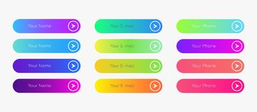 Web buttons flat design template with color gradient. And thin line outline style. Vector isolated rectangular rounded web page next arrow button elements set vector illustration