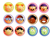 Web buttons, girls. Color set of web buttons with children faces, caricature Stock Image