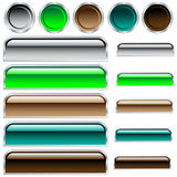 Web buttons glossy assorted colors and shapes. Web buttons, scaleable glossy rounded rectangles and circles in assorted colors. Isolated on white vector illustration