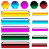 Web buttons glossy assorted colors and shapes. Buttons, scaleable shiny rounded rectangles and circles in assorted colors. Isolated on white stock illustration