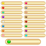 Web buttons gold. And shiny with bright assorted colored round glossy inserts. Scalable. Isolated on white stock illustration