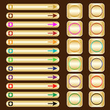 Web buttons, gold with assorted colored elements. Web buttons, gold based with assorted colored arrows and shapes. Isolated on brown royalty free illustration