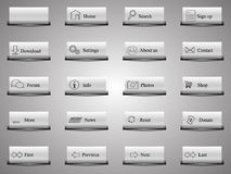 19+1 web buttons. 19 web buttons with icon and one for the editor's other needs Royalty Free Stock Photos