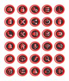 30 web buttons or icons, applications. Red and black Royalty Free Stock Image