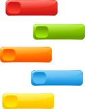 Web buttons, labels. Set of rectangle colored 3d buttons or labels Royalty Free Stock Photography