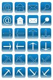 Web buttons: light blue 1. Collection of web buttons: at-sign, home, email, search, arrows Royalty Free Stock Photos