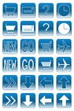 Web buttons: light blue 2. Collection of web buttons: ecommerce, navigation, help, mail, travel Royalty Free Stock Photography