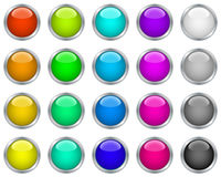Web buttons in metallic frames Stock Photography