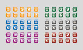 Web buttons multi-colour scheme. Orange, green, blue, grey, purple and maroon colour Stock Photos
