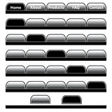 Web buttons navigation bars set. Web buttons, black and gray navigation bars set with individual blank tabs. Isolated on white royalty free illustration