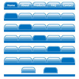 Web buttons navigation bars set. Web buttons, blue navigation bars set with individual blank tabs. Isolated on white stock illustration