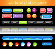 Web buttons and navigations. Collection of vector web buttons and navigations Stock Photos