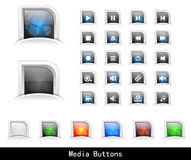 Web buttons pack. Set of color plastic buttons for web. Vector illustration Stock Image