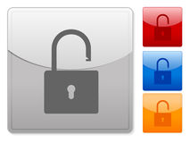 Web buttons padlock unlock Stock Photo