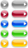 Web buttons (play). Varicoloured web buttons (grey, red, blue, green, orange vector illustration