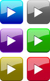 Web buttons (play). Varicoloured web buttons (blue, grey, violet, green, brown, red vector illustration