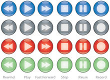 Web buttons player controls. Illustration of player control buttons, in four color options: blue, grey, red and green Stock Photo