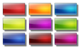 Web buttons- rectangle #08. Set of glass, glossy, colored, web buttons Stock Photos